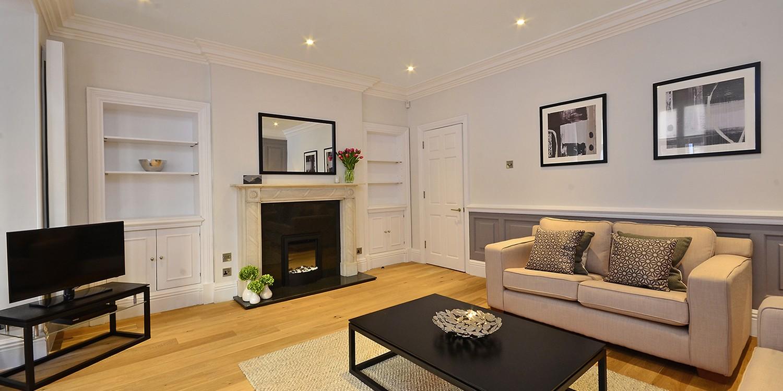 Half Moon Street Living Room Portland Brown Serviced Apartments